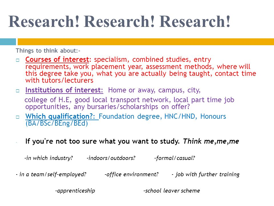 Research! Research! Research!