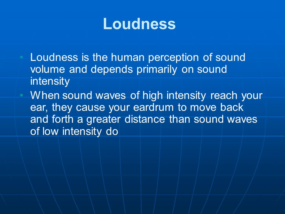 the human perception of loudness essay Human sound: hearing test on-line: sensitivity, equal loudness contours and audiometry this hearing test measures the relative sensitivity of your ears at different frequencies it produces equal loudness contours or hearing sensitivity curves – the frequency response of your own ears the flash script allows you to play sound files.