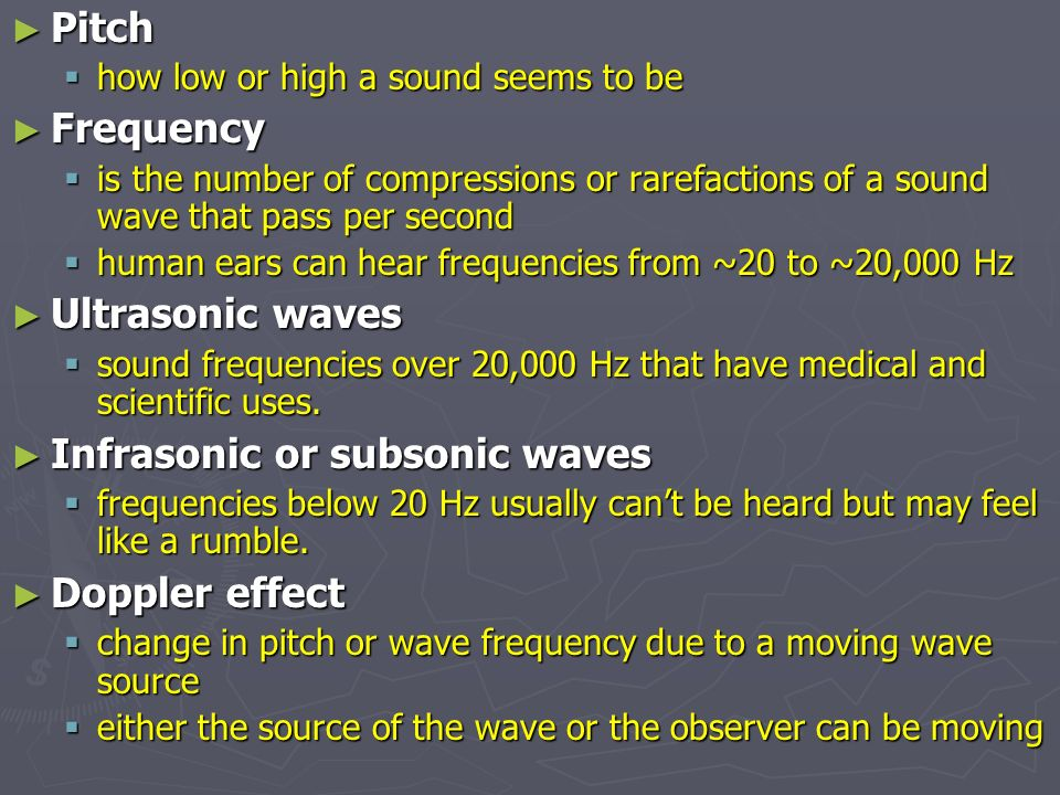 Infrasonic or subsonic waves