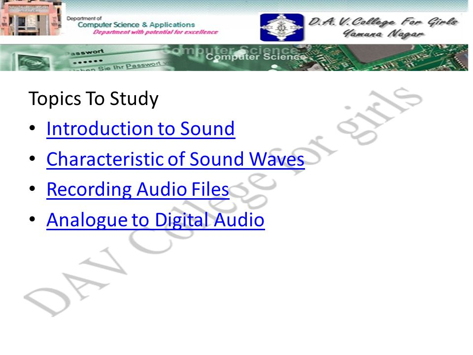 introduction to sound waves Introduction to describe a wave, you need to know a few of its properties one property is its wavelength for a sound wave, this corresponds to how high or how low a note sounds.