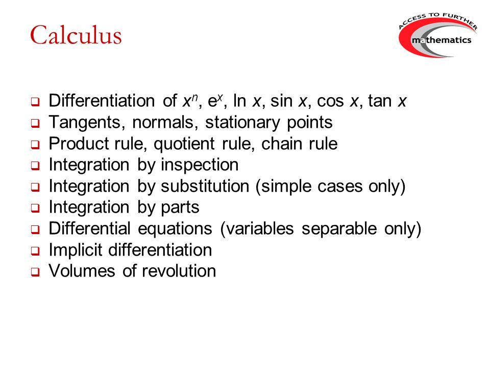 Calculus Differentiation of xn, ex, ln x, sin x, cos x, tan x