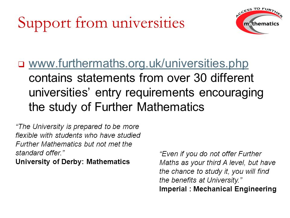 Support from universities