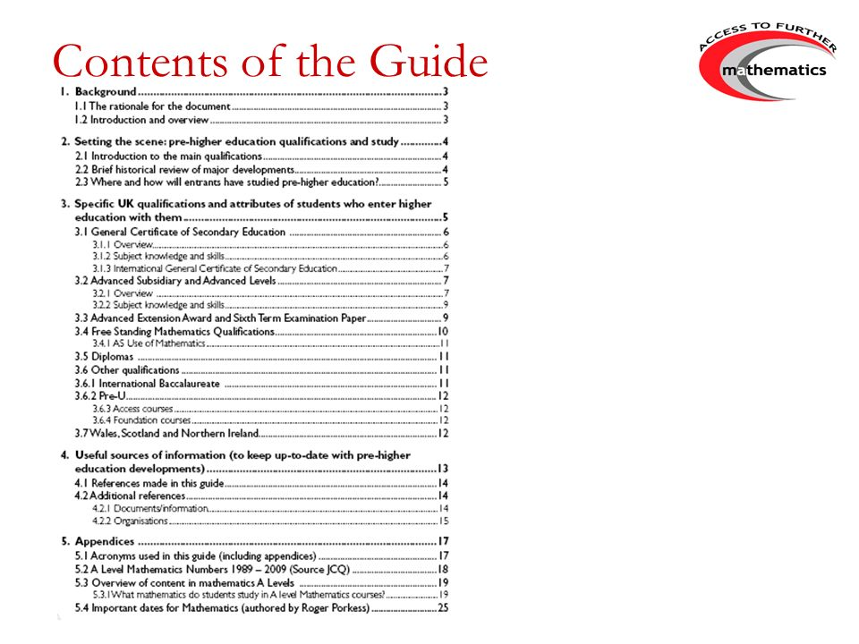 Contents of the Guide