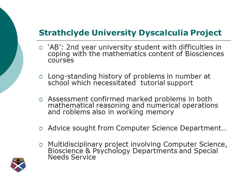 Strathclyde University Dyscalculia Project