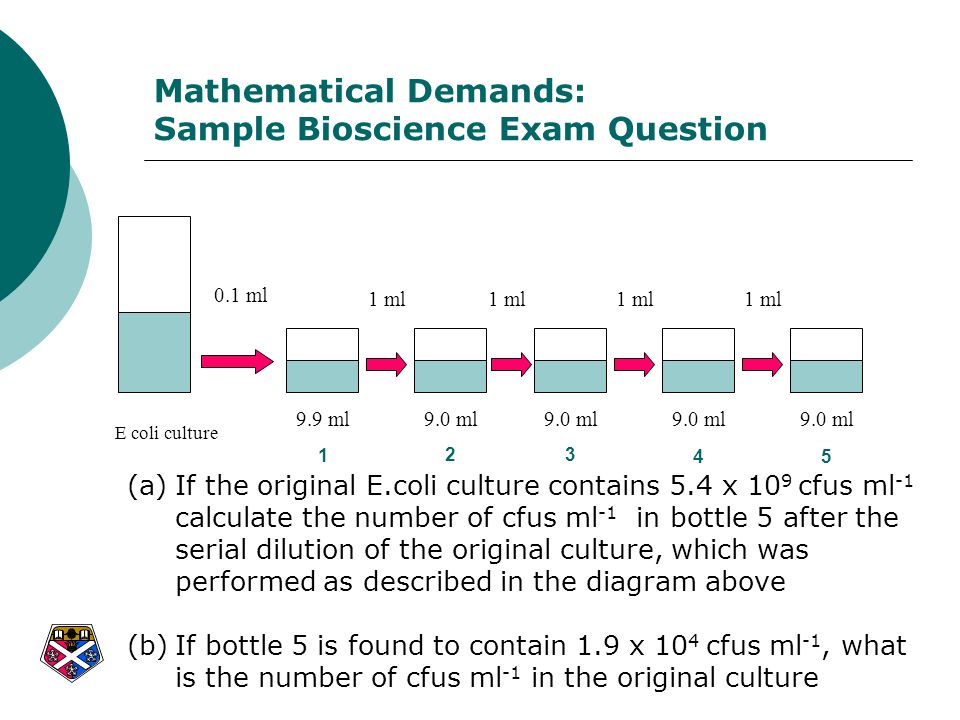 Mathematical Demands: Sample Bioscience Exam Question