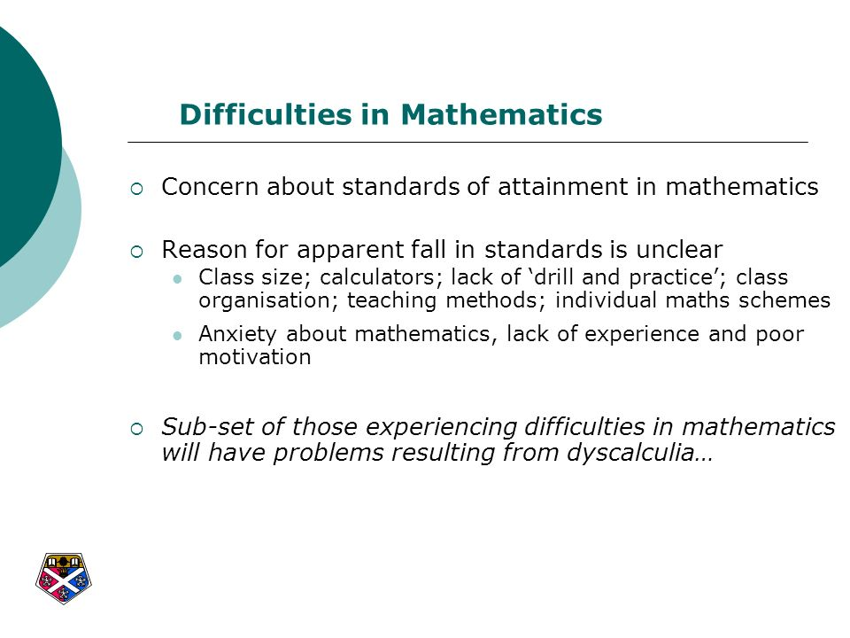 Difficulties in Mathematics