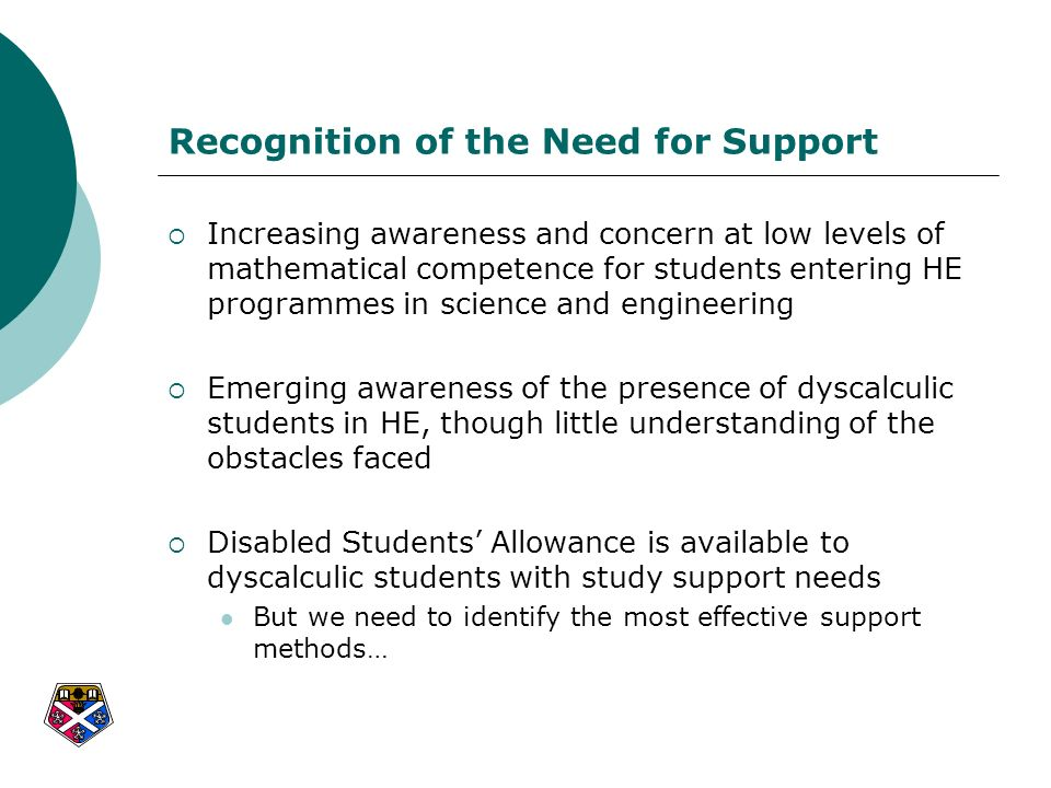 Recognition of the Need for Support