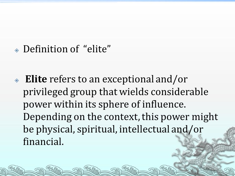 Definition of elite