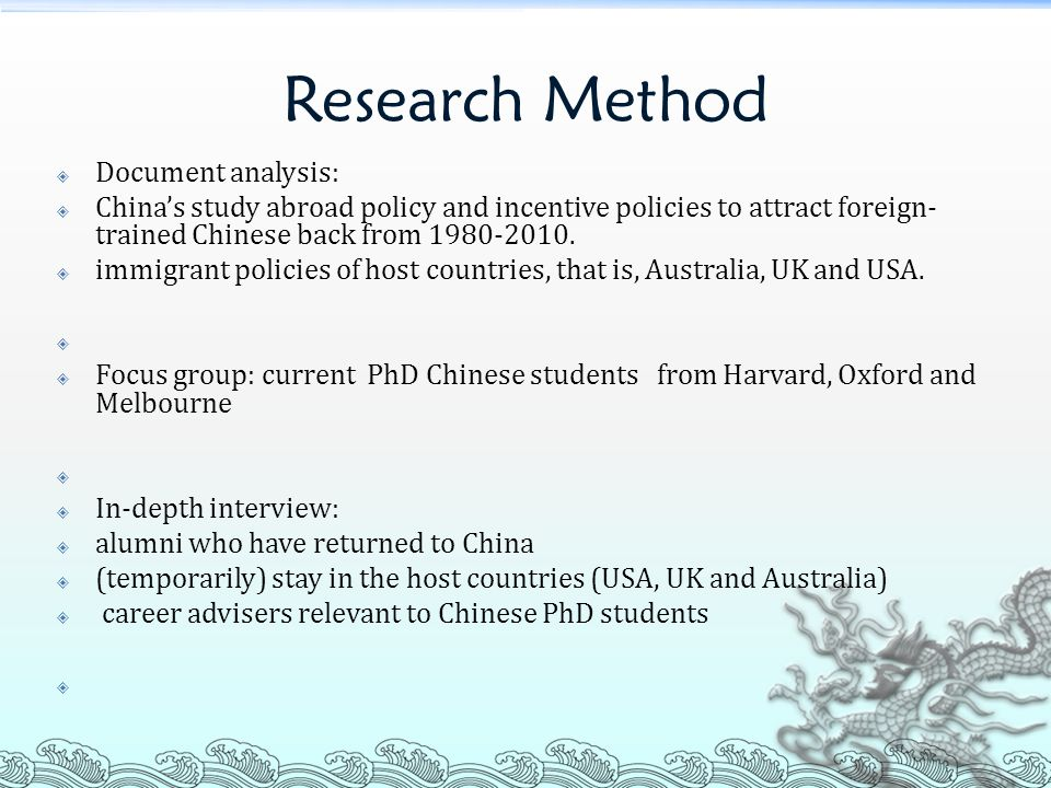 Research Method Document analysis: