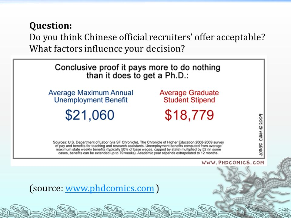 Question: Do you think Chinese official recruiters' offer acceptable What factors influence your decision