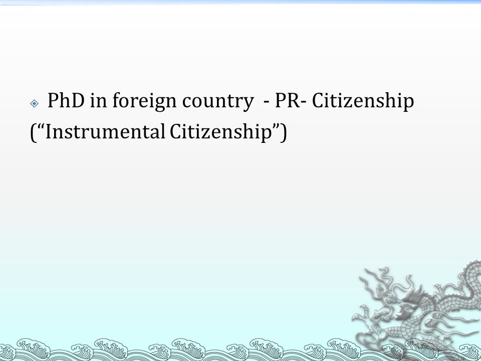 PhD in foreign country - PR- Citizenship