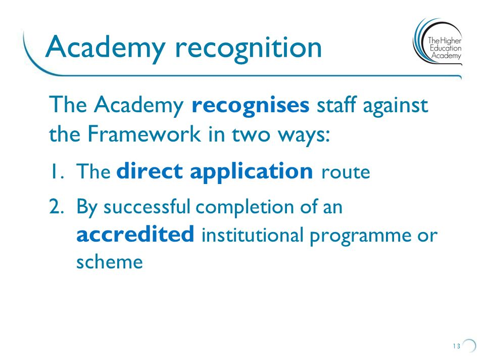 Academy recognition The Academy recognises staff against the Framework in two ways: The direct application route.