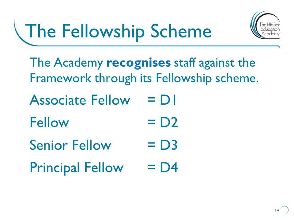 The Fellowship Scheme Associate Fellow = D1 Fellow = D2