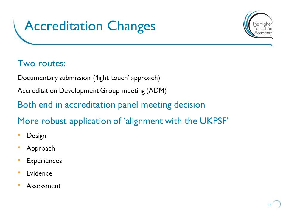 Accreditation Changes