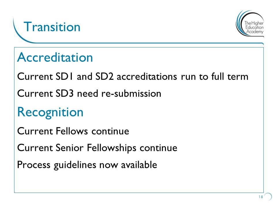 Transition Accreditation Recognition Accreditation Recognition