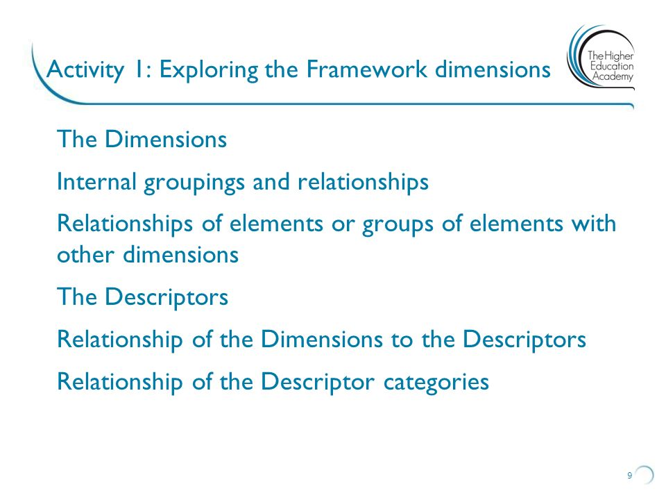 Activity 1: Exploring the Framework dimensions