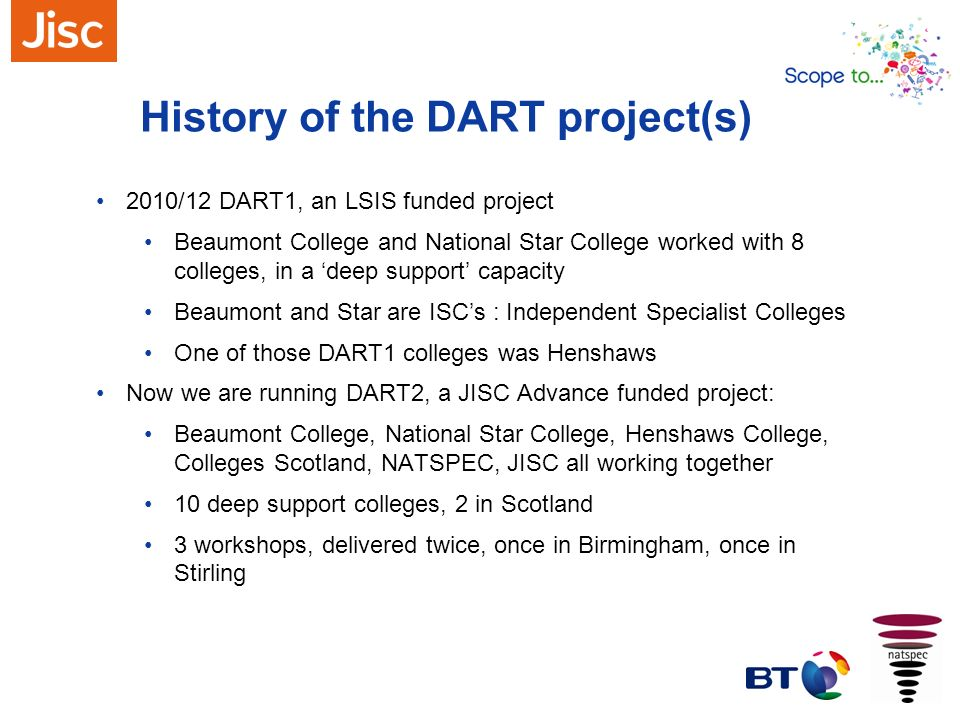 History of the DART project(s)