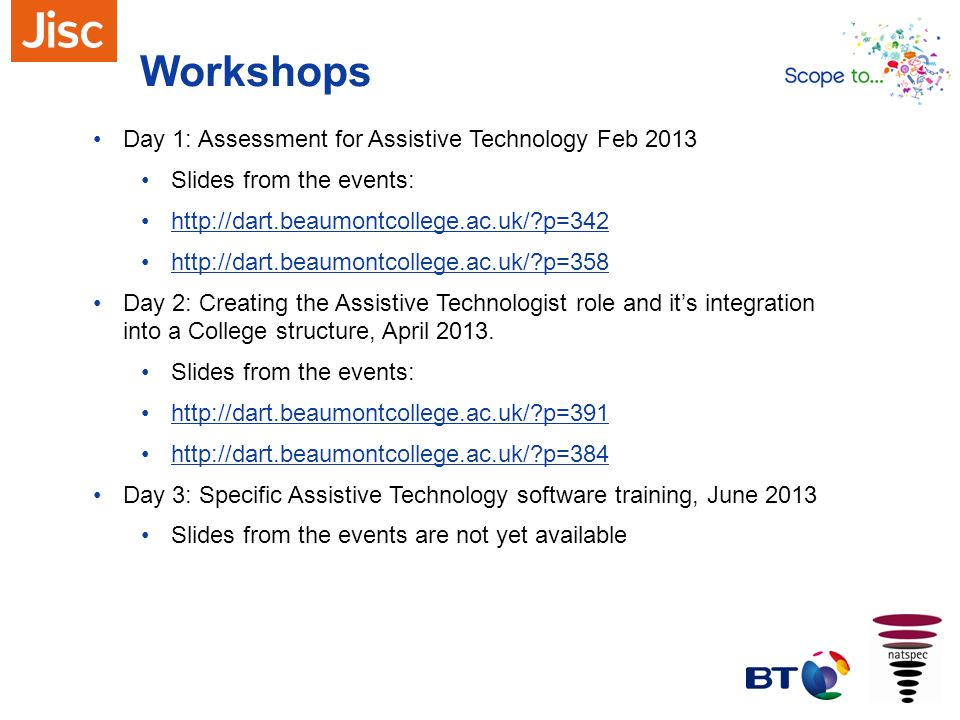 Workshops Day 1: Assessment for Assistive Technology Feb 2013