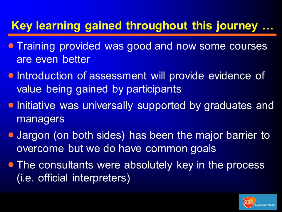 Key learning gained throughout this journey …