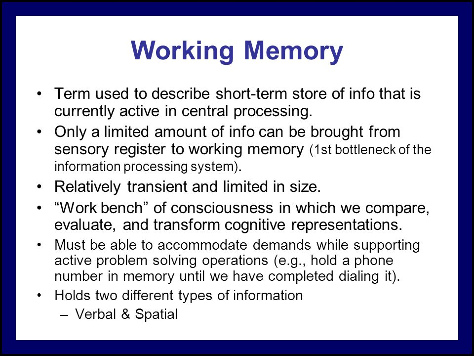a comparison of short term memory and working memory Pdf | in the recent literature there has been considerable confusion about the three types of memory: long-term, short-term, and working.