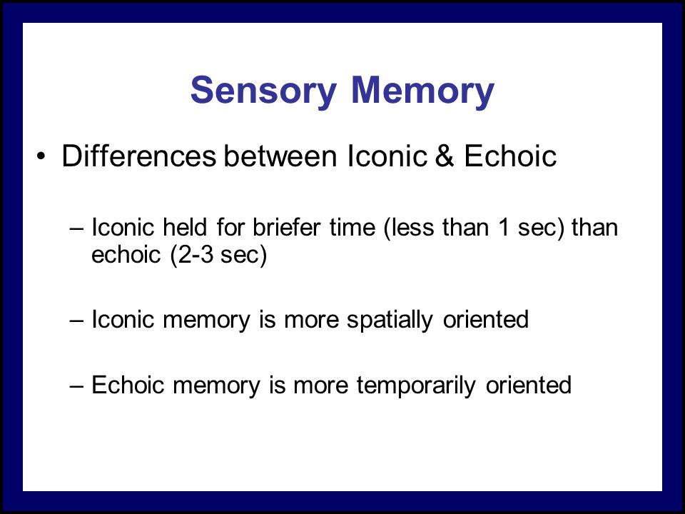echoic memory Start studying psychology chapter 10 memory learn vocabulary, terms, and more with flashcards, games, and other study tools.