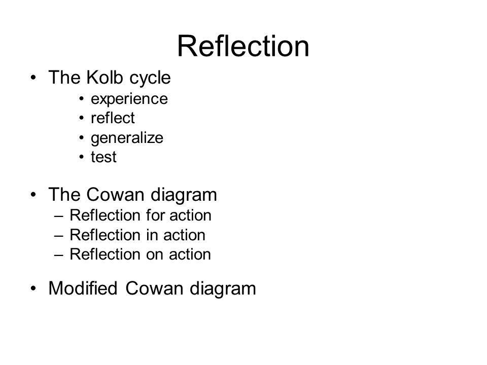 Reflection The Kolb cycle The Cowan diagram Modified Cowan diagram