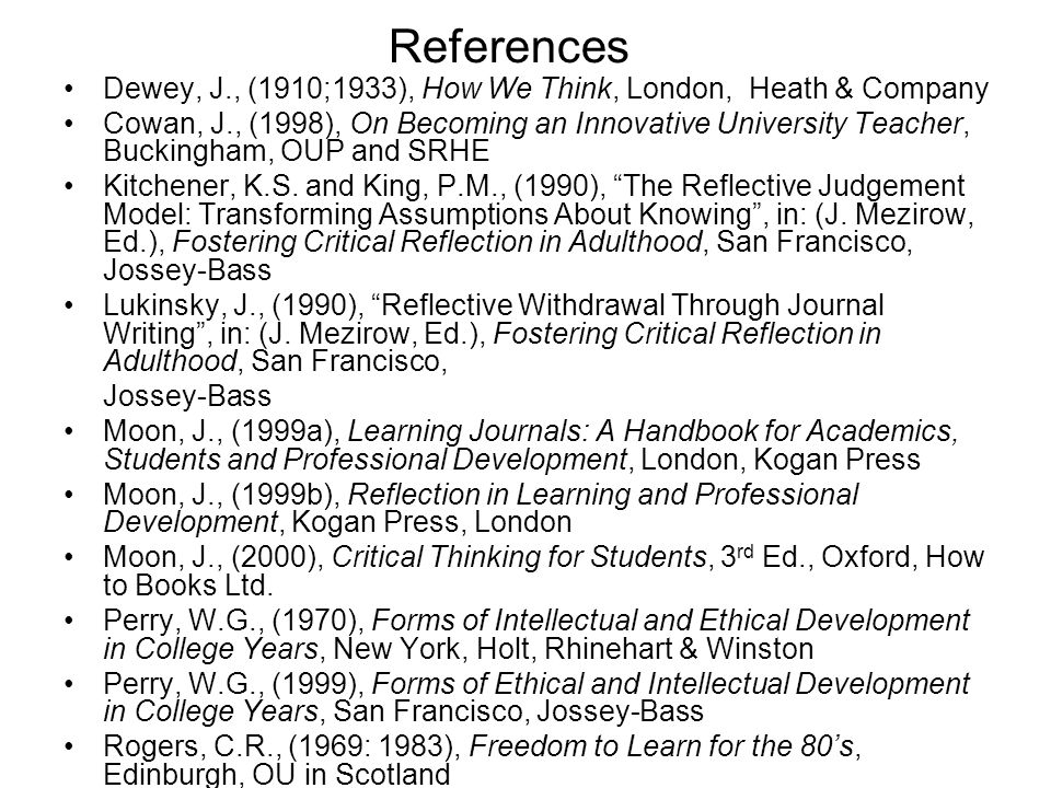 References Dewey, J., (1910;1933), How We Think, London, Heath & Company.
