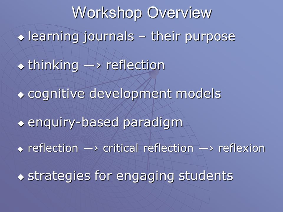 Workshop Overview learning journals – their purpose