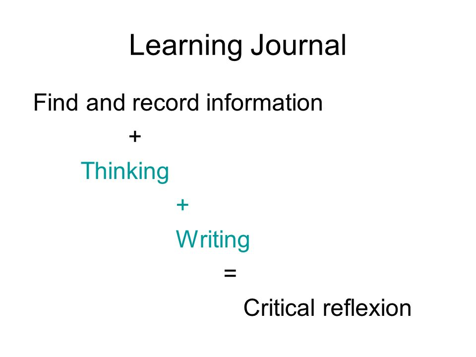 Learning Journal Find and record information + Thinking Writing =