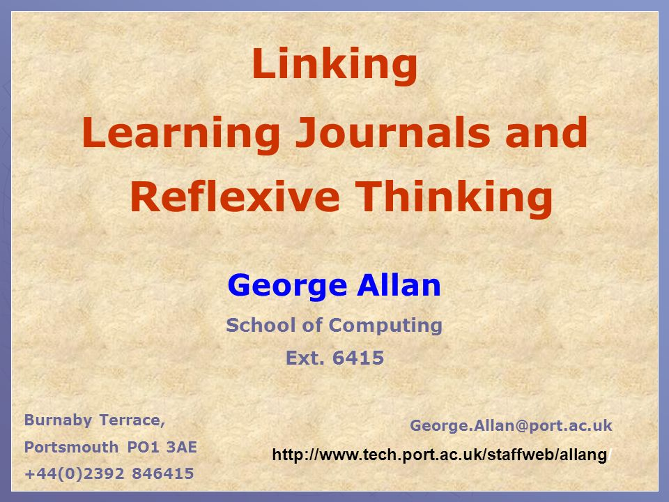 Learning Journals and Reflexive Thinking