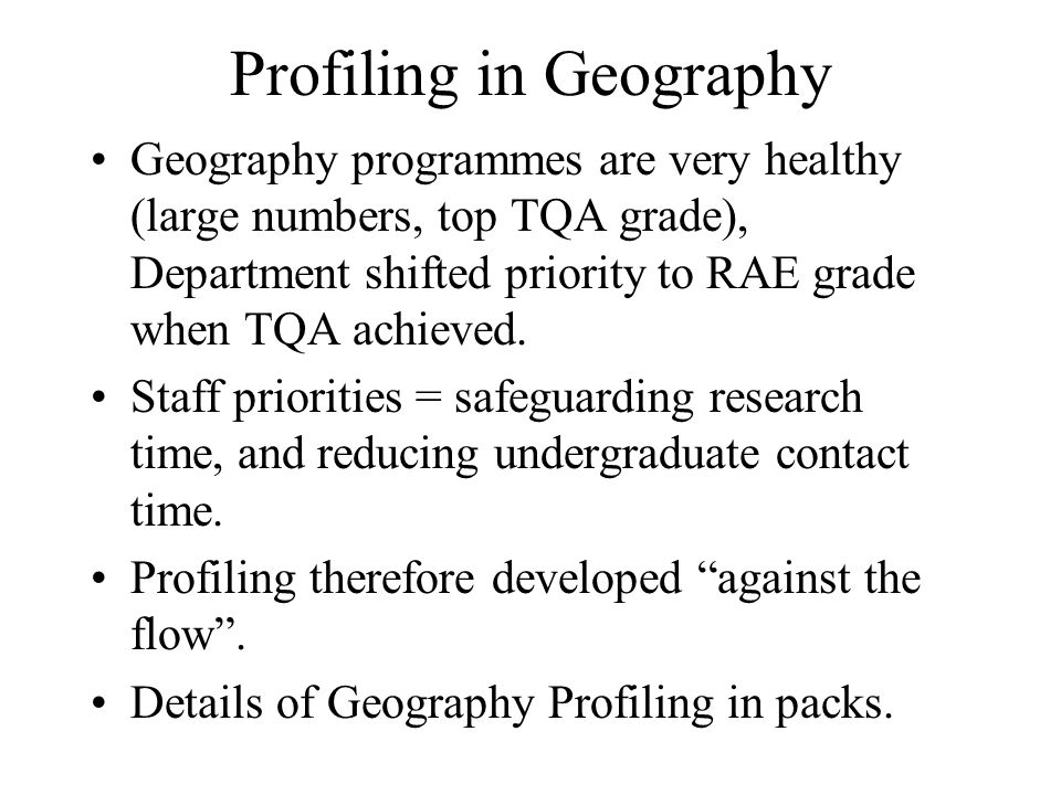 Profiling in Geography