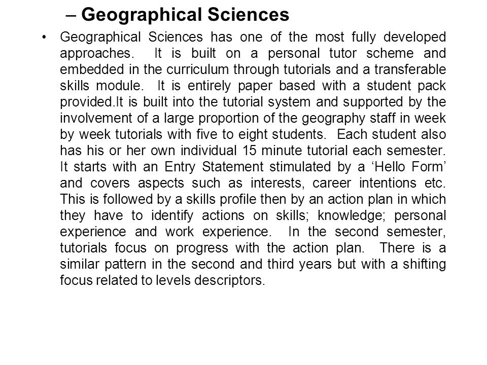 Geographical Sciences