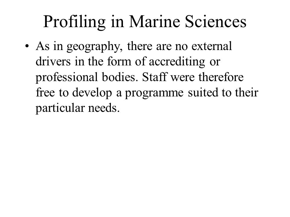 Profiling in Marine Sciences