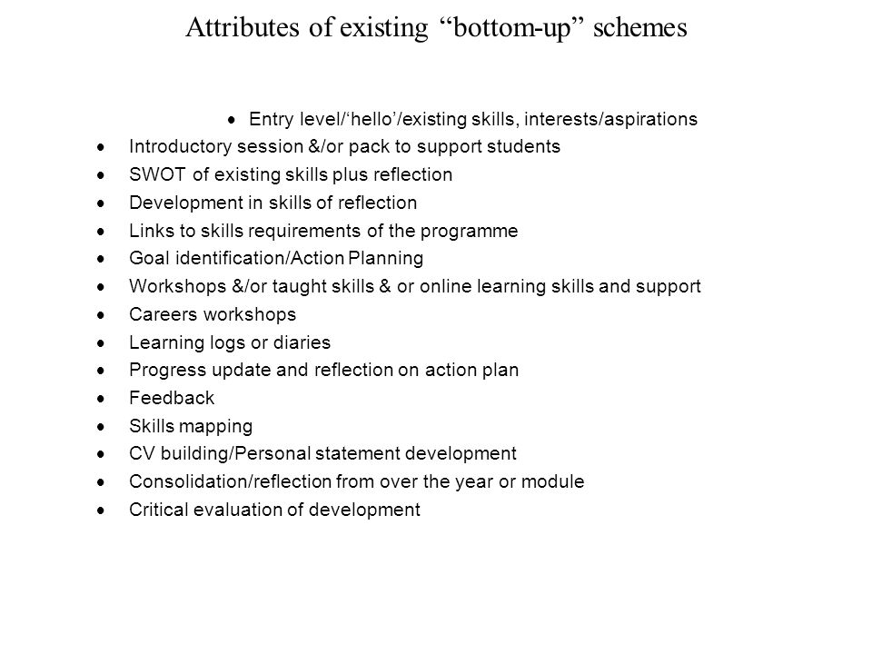 Attributes of existing bottom-up schemes