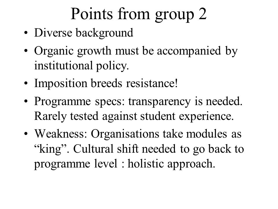 Points from group 2 Diverse background