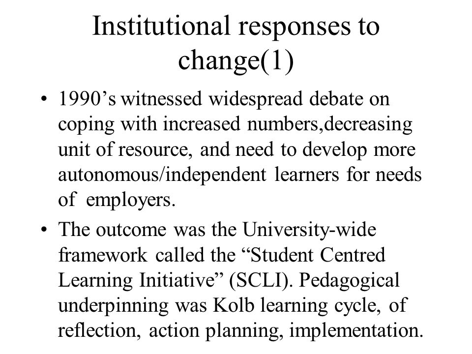 Institutional responses to change(1)
