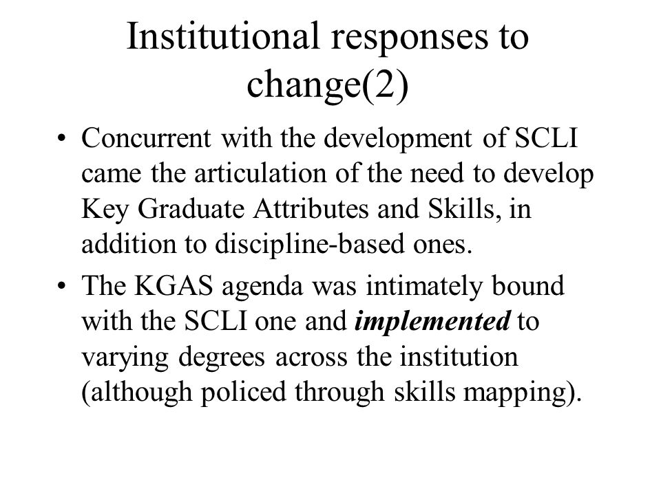 Institutional responses to change(2)