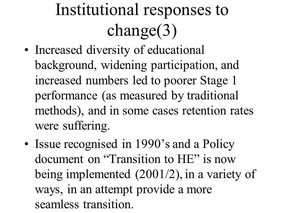 Institutional responses to change(3)