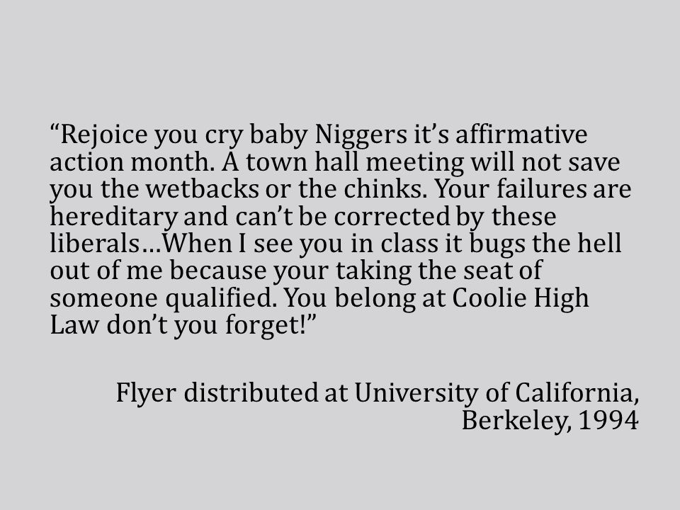 Rejoice you cry baby Niggers it's affirmative action month