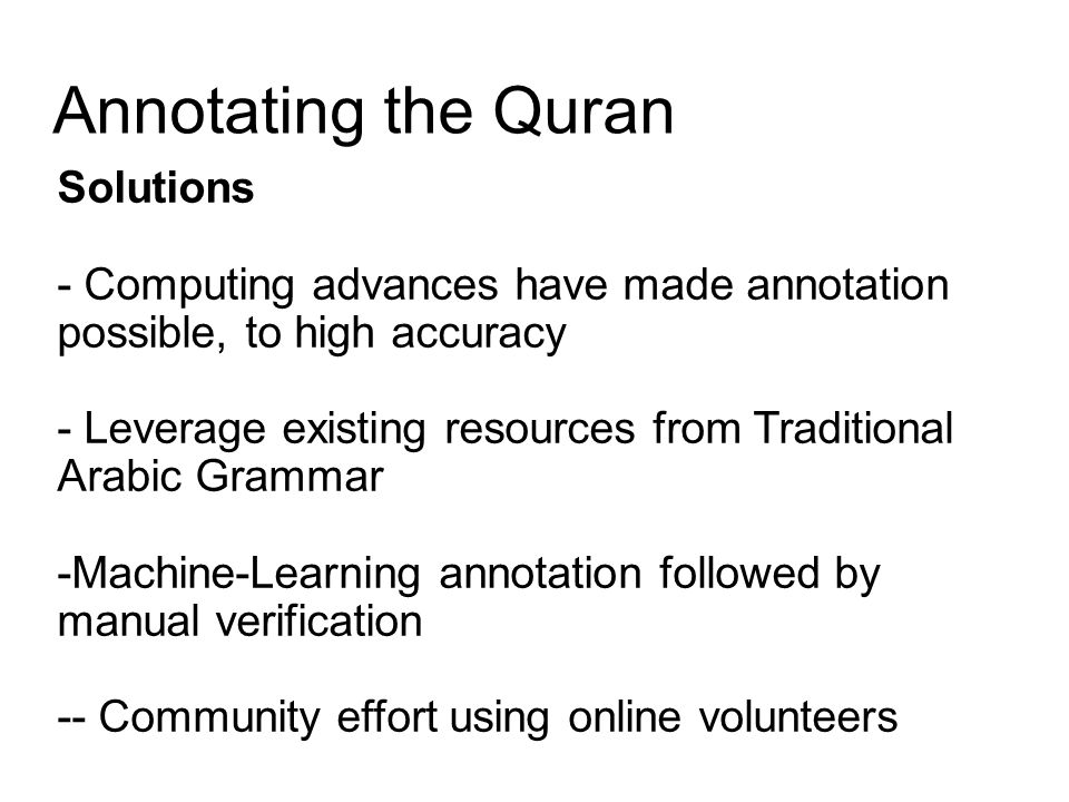 Annotating the Quran Solutions