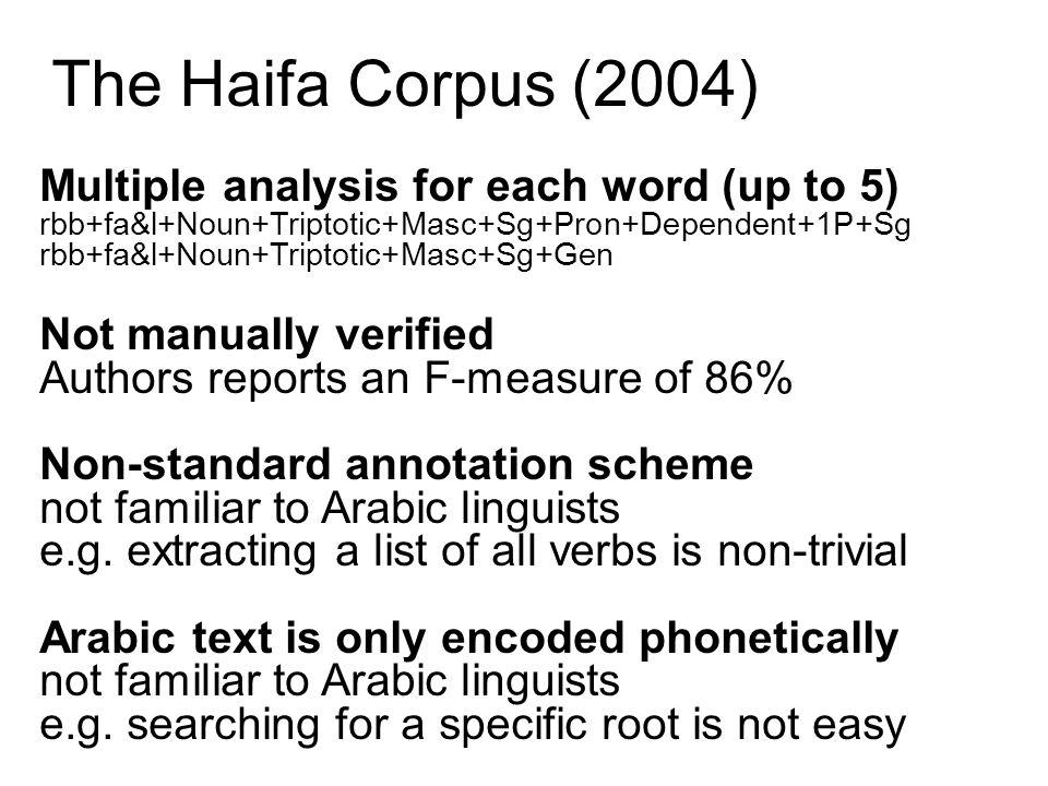 The Haifa Corpus (2004) Multiple analysis for each word (up to 5)