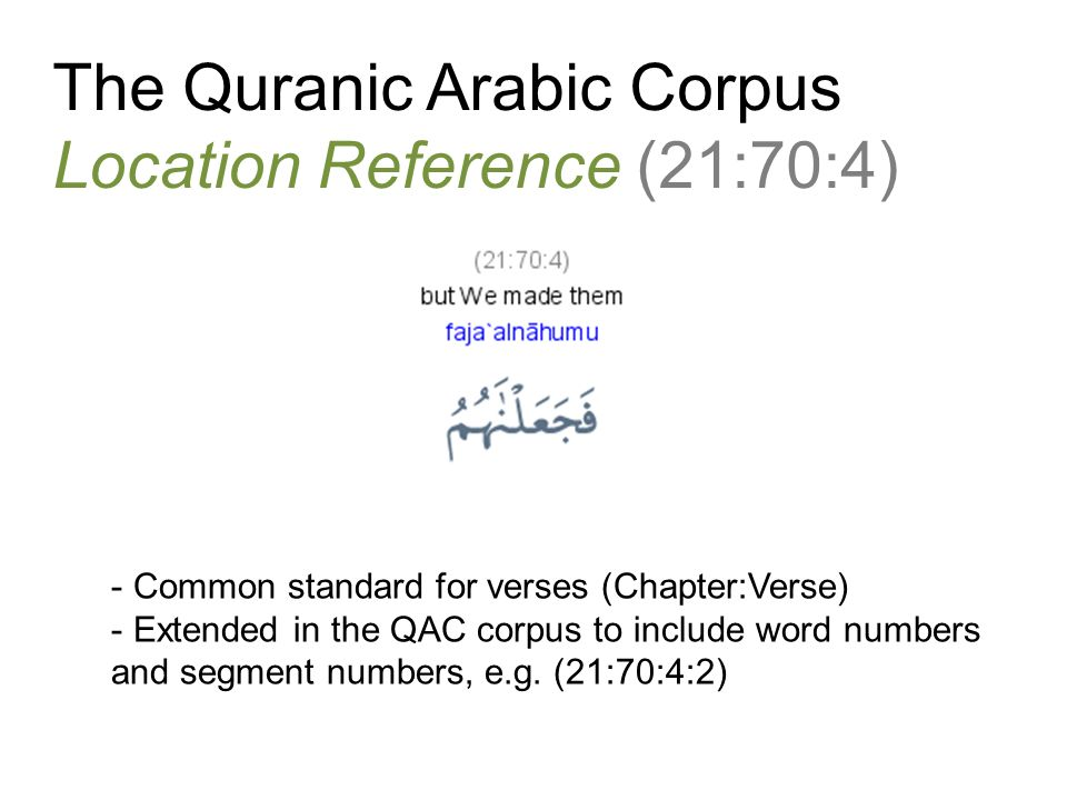 The Quranic Arabic Corpus Location Reference (21:70:4)