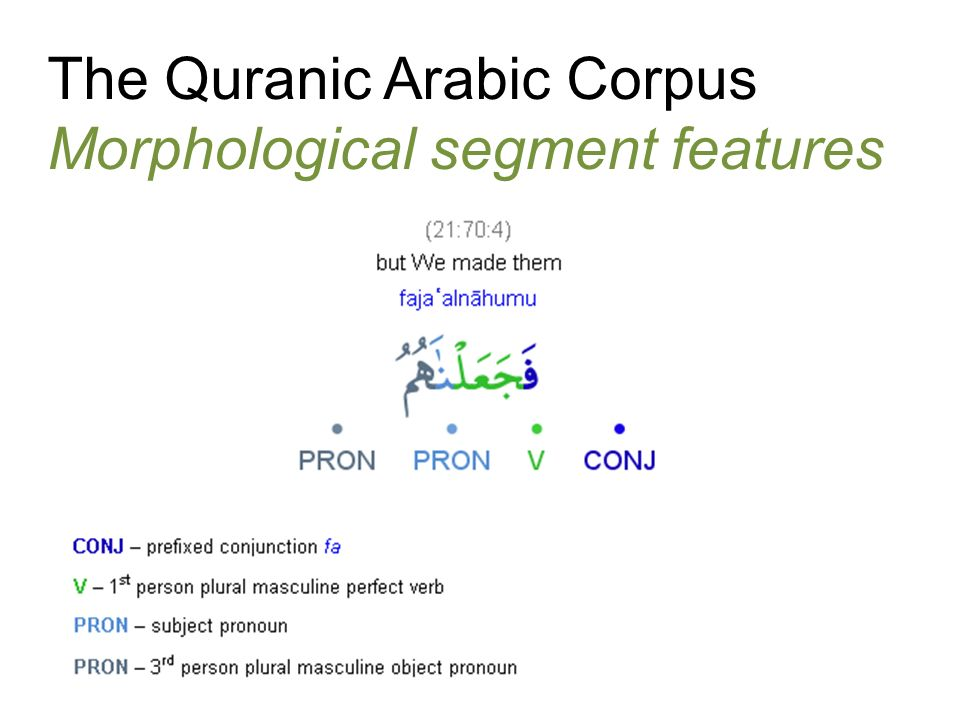 The Quranic Arabic Corpus Morphological segment features