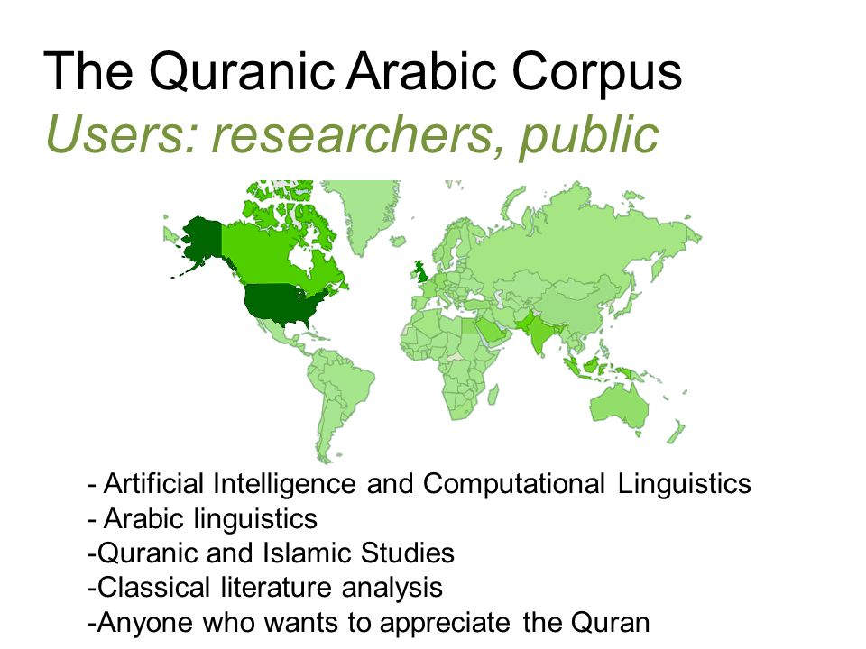 The Quranic Arabic Corpus Users: researchers, public