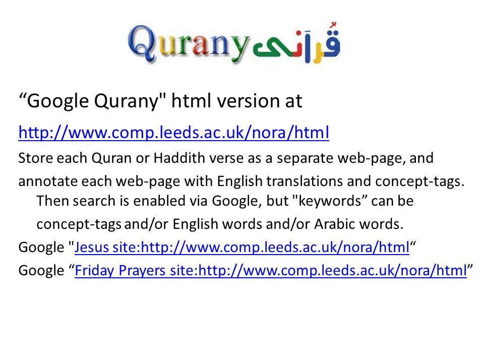Google Qurany html version at