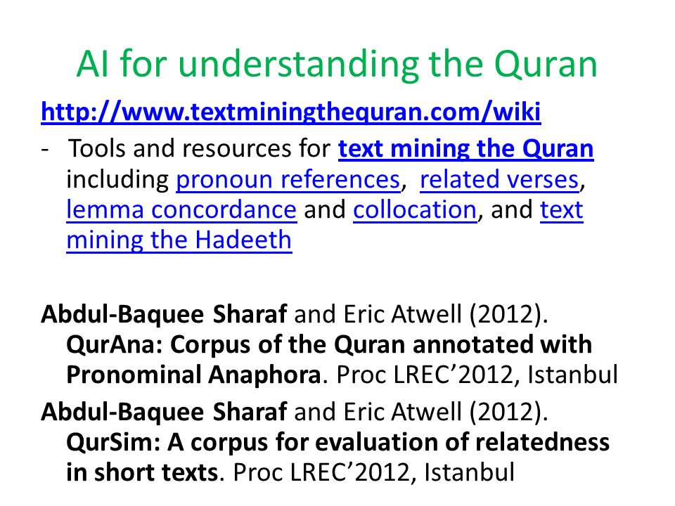 AI for understanding the Quran