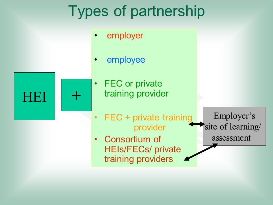 + Types of partnership HEI employer employee