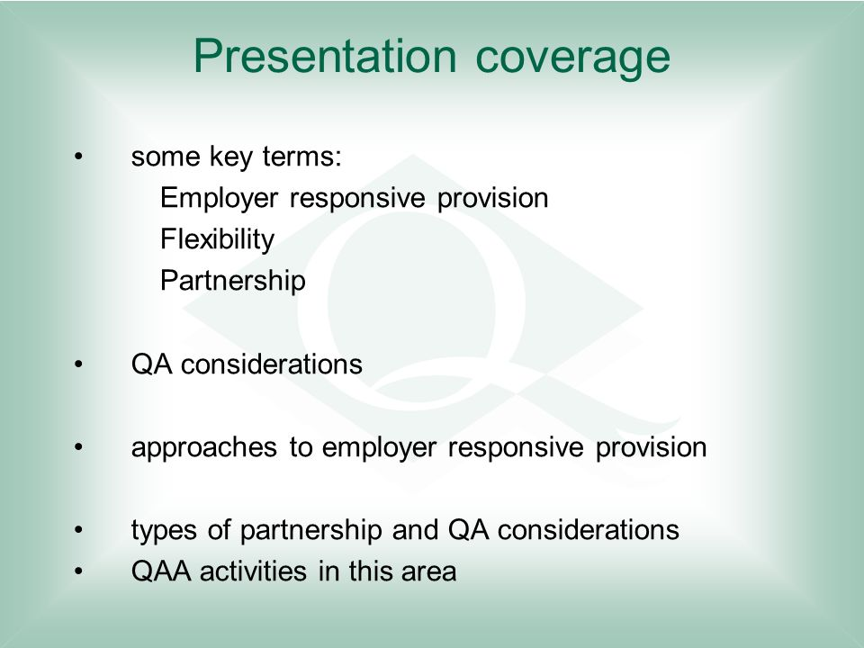 Presentation coverage