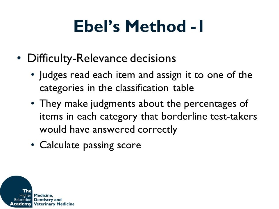 Ebel's Method -1 Difficulty-Relevance decisions