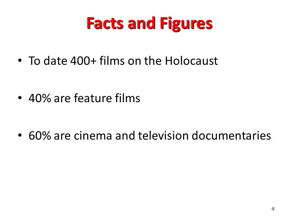 Facts and Figures To date 400+ films on the Holocaust